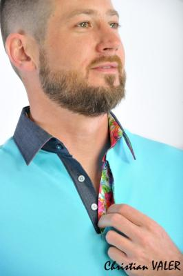 Polo homme bleu turquoise manches courtes Christian VALER