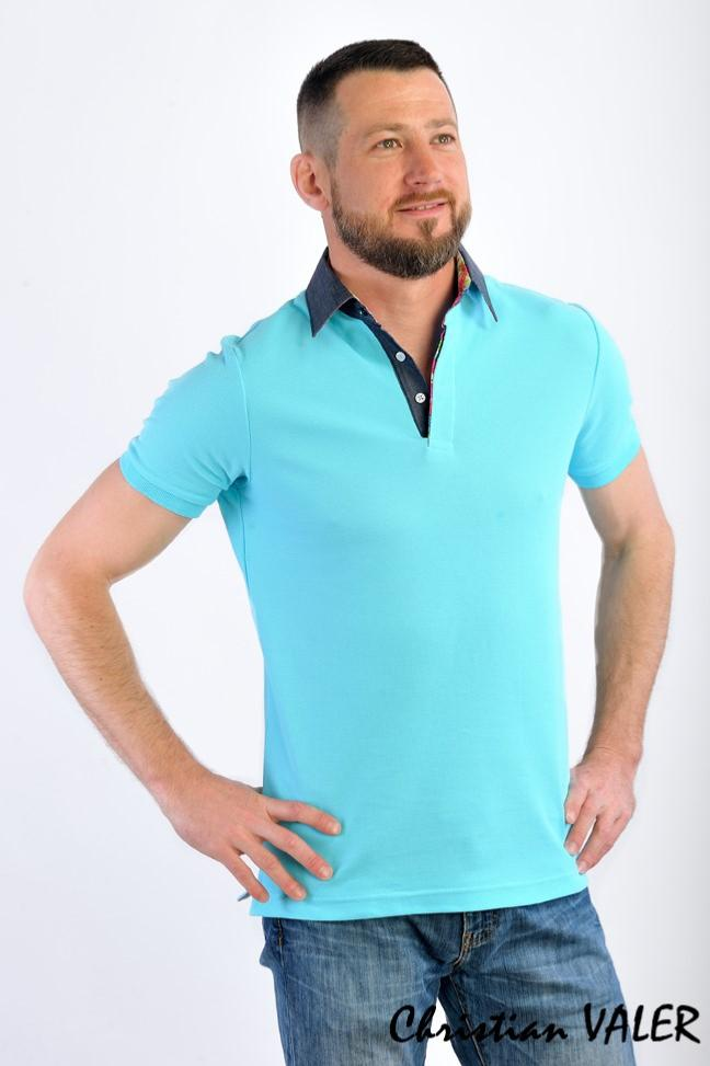 Polo homme turquoise, manches courtes, col