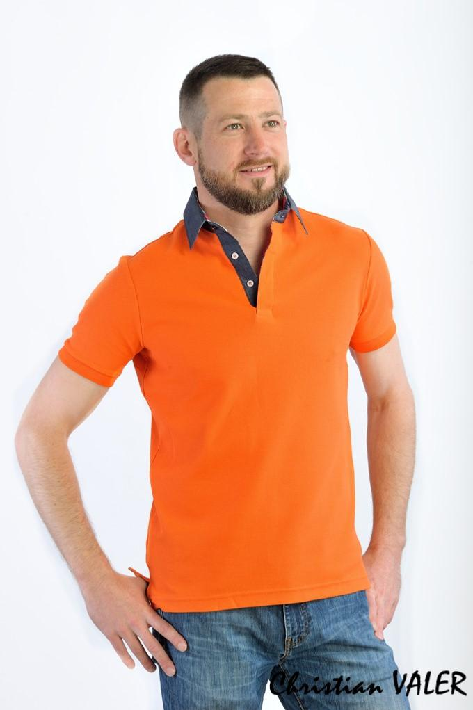 Polo homme orange, manches courtes, col chemise